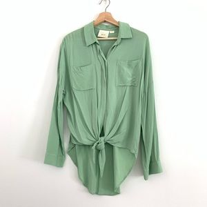 Anthro Maeve Mint Green Tie Front Top Size Medium